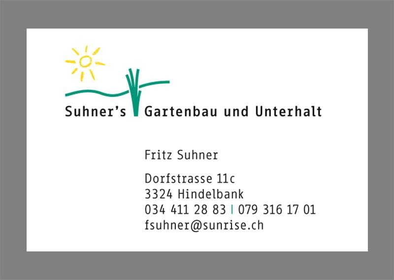 Visitenkarte Suhner's Gartenbau
