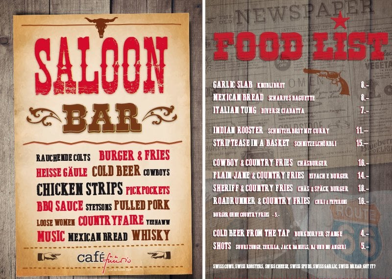 Flyer SALOON Café Füürio